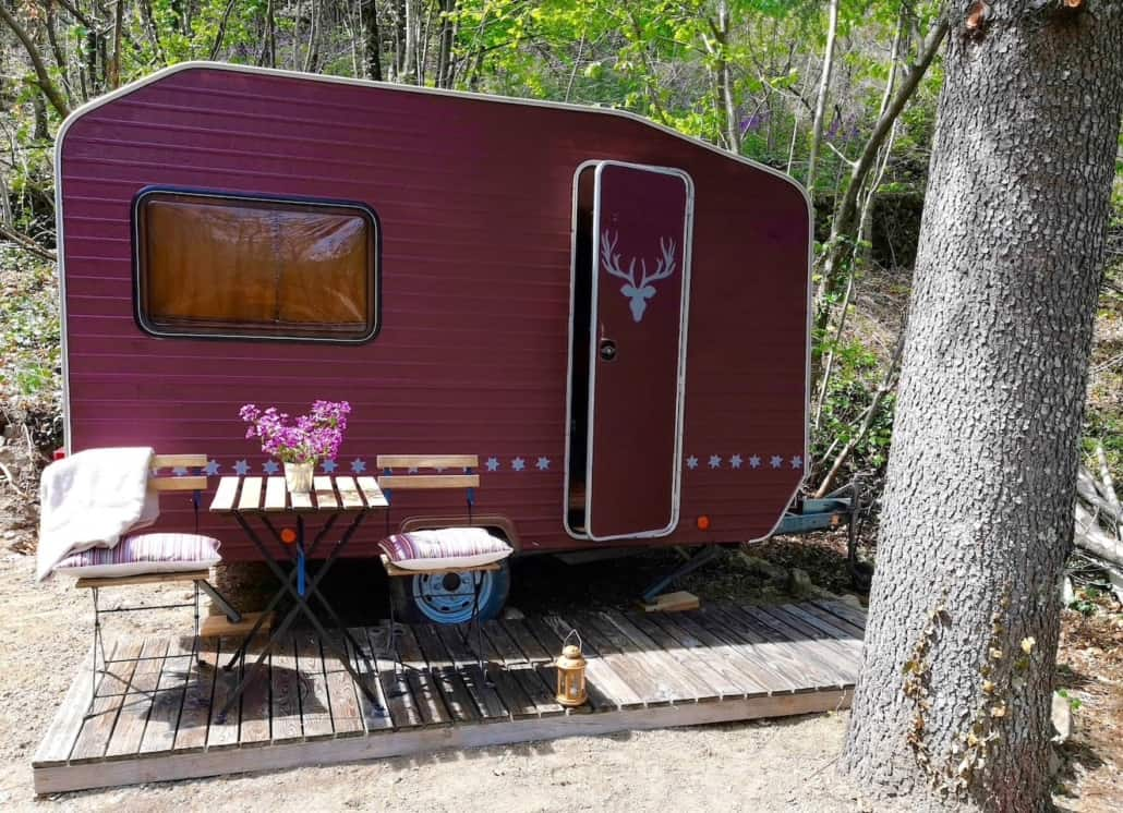 Caravane vintage les jardins de l'hermite (Gard)